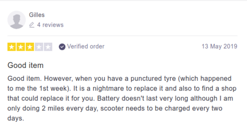 Critique du client Pure Scooters